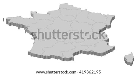 Map - France - stock vector