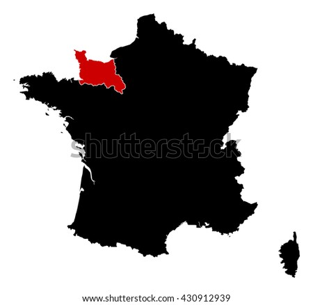 Map - France, Lower Normandy - stock vector