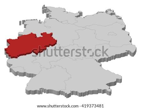 Map - Germany, North Rhine-Westphalia - 3D-Illustration - stock vector