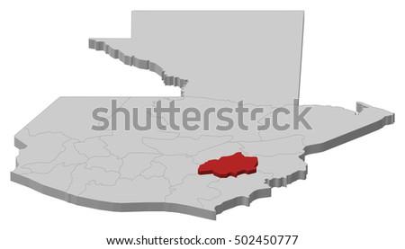 Map Guatemala Jalapa 3dillustration Stock Vector 502450777