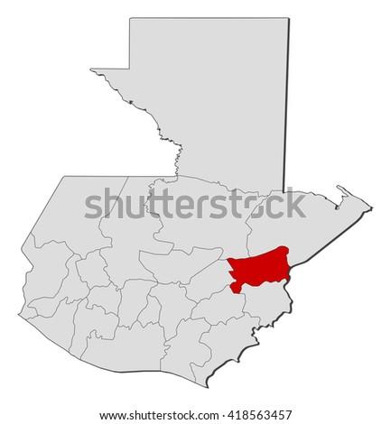 Map Guatemala Zacapa Stock Vector 418563457 Shutterstock