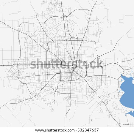 Map Houston City Texas Roads Stock Vector Shutterstock - Map of texas roads