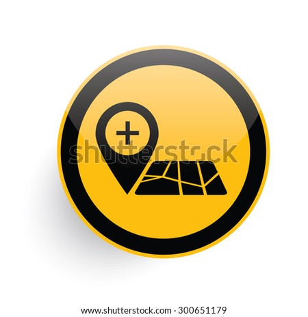 Map icon design on yellow button background,clean vector - stock vector