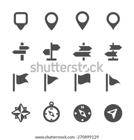 map icon set 3, vector eps10. - stock vector