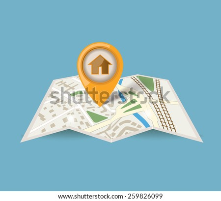 map icon with pointer on blue background - stock vector