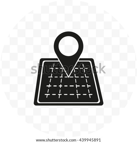 Map icon with pointer, vector illustration - stock vector