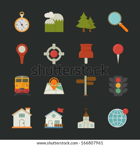 Map icons and location icons , flat design , eps10 vector format - stock vector