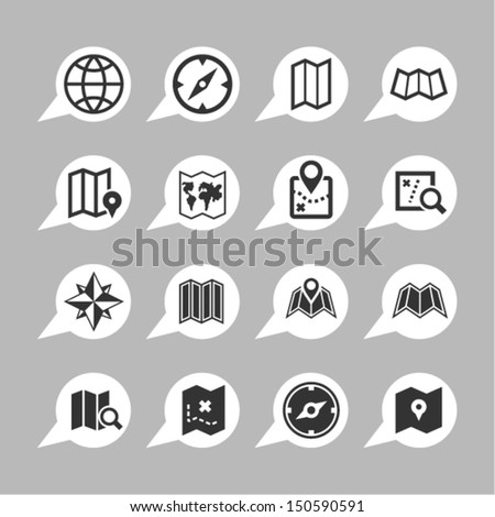 Map icons for app - stock vector