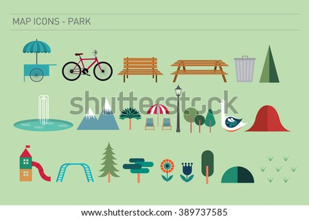 map icons of park vector/ illustration - stock vector
