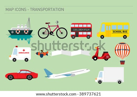 map icons of transportation vector/ illustration - stock vector