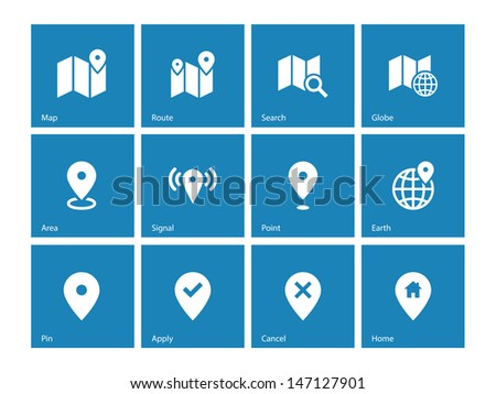 Map icons on blue background. GPS and Navigation. Vector illustration. - stock vector
