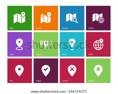 Map icons on color background. GPS and Navigation. Vector illustration. - stock vector