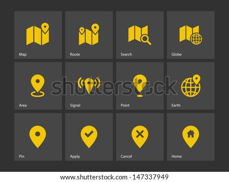 Map icons on gray background. GPS and Navigation. Vector illustration. - stock vector