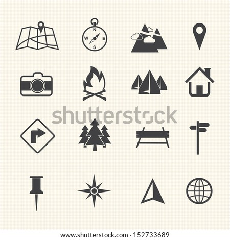 Map icons set, Navigation - stock vector