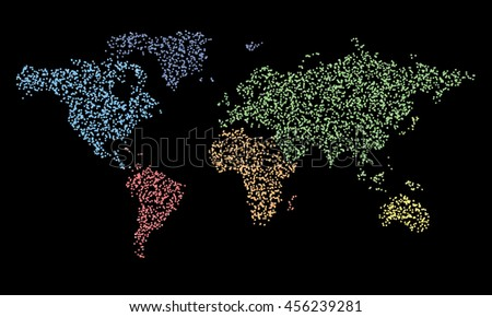 Map in dots. Vector world political map eps 10 illustration. Continents color particles  - stock vector