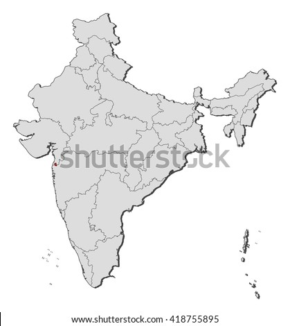 Map - India, Dadra and Nagar Haveli - stock vector