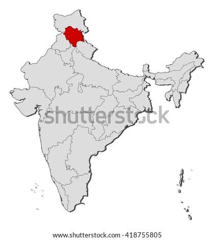 Map - India, Himachal Pradesh - stock vector