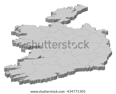 Map - Ireland - 3D-Illustration