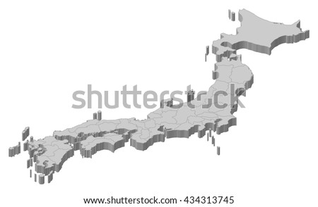 Map - Japan - 3D-Illustration - stock vector