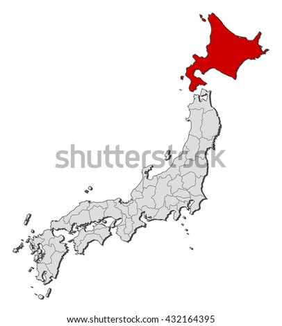 Map - Japan, Hokkaido - stock vector