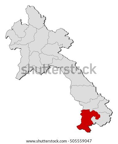 Map Laos Champasak Stock Vector 505559047 Shutterstock