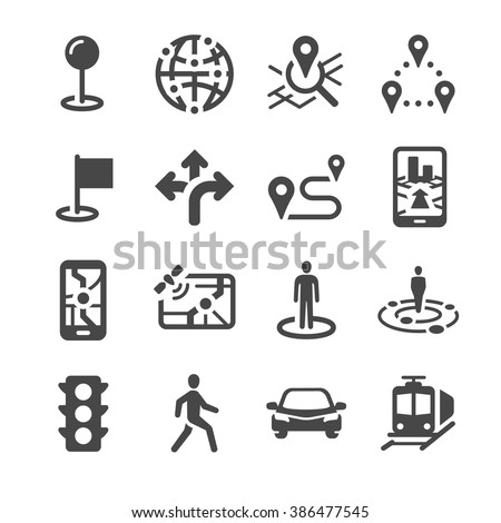 Map Location and navigation icons - stock vector