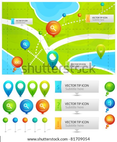 Map location icons - stock vector