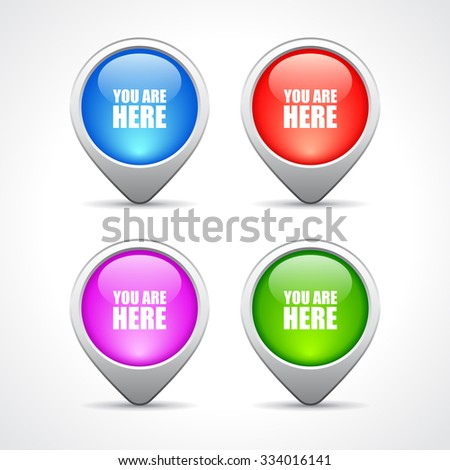Map location pin pointers set isolated on white background - stock vector