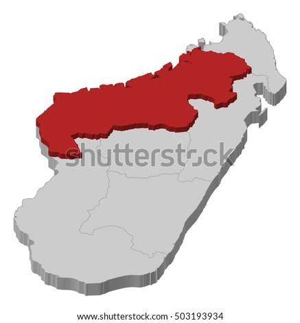 Map Madagascar Mahajanga 3dillustration Stock Vector 503193934