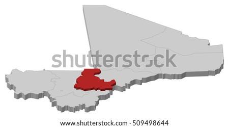 Map Mali Segou 3dillustration Stock Vector 509498644 Shutterstock