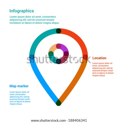 Map marker flat line icon infographics concept. Location pin vector illustration template for web, mobile or brochure template. - stock vector