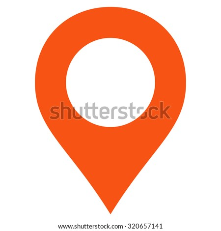 Map Marker icon from Primitive Set. This isolated flat symbol is drawn with orange color on a white background, angles are rounded. - stock vector