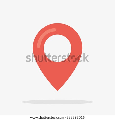 Map Marker Icon in Vector, Red Marker - stock vector