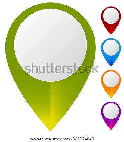 Map marker, map pin set. Abstract pushpins, thumbtacks with empty space. Vector. - stock vector