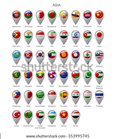 Map marker set with state flags of sovereign countries of Asia with captions in alphabet order.  Vector illustration - stock vector