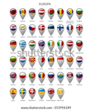 Map marker set with state flags of sovereign countries of Europa with captions in alphabet order.  Vector illustration - stock vector