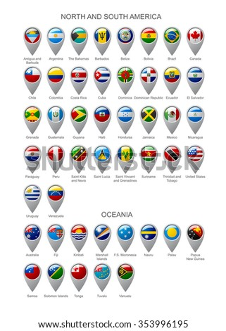 Map marker set with state flags of sovereign countries of North and South America continents and Oceania with captions in alphabet order.  Vector illustration - stock vector