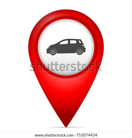 Map Marker Car Symbol On White Stock Photo Photo Vector