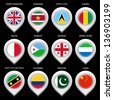 Map marker with flag-set fourth. In this set icons, I drawed these flags: Saint Kitts and Nevis, Suriname, Pakistan, Saint lucia, Djibouti, Georgia, United Kingdom, Colombia, China, Guinea, Malta - stock photo