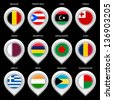 Map marker with flag-set ninth. In this set icons, I drawed these flags: Madagascar, Tonga, Libya, Greece, Bangladesh, Mauritius, Qatar, Puerto rico, Chad, Belgium, Bahamas, India - stock photo