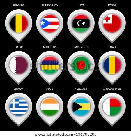 Map marker with flag-set ninth. In this set icons, I drawed these flags: Madagascar, Tonga, Libya, Greece, Bangladesh, Mauritius, Qatar, Puerto rico, Chad, Belgium, Bahamas, India - stock vector