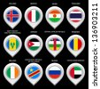 Map marker with flag-set sixth. In this set icons, I drawed these flags: Niger, Democratic republic of the congo, United Arab Emirates, Jordan, Thailand, Iceland, Ireland, Romania, Mexico, Russia - stock photo