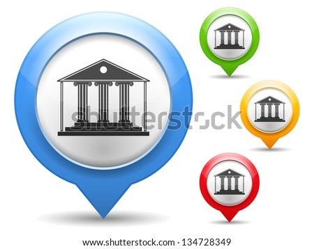 Map marker with icon of a museum, vector eps10 illustration - stock vector