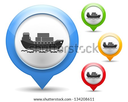 Map marker with icon of a transport barge, vector eps10 illustration - stock vector