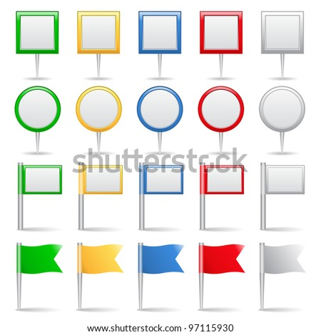 Map markers and flags, vector eps10 illustration - stock vector