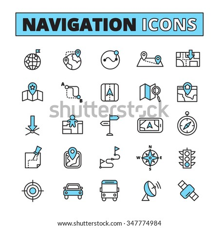 Map Navigation Finding Location Symbols On Stock Vector 347774984