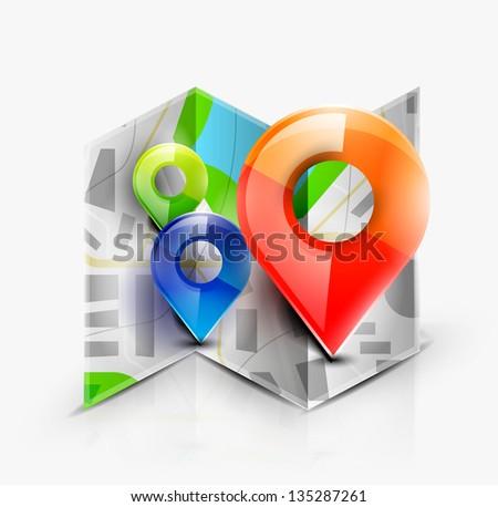 Map navigation icon. Vector - stock vector