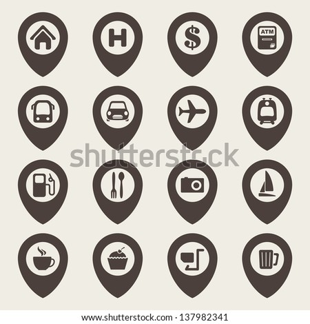 map navigation icons - stock vector