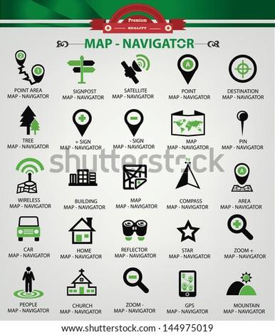 Map,Navigator icons,Green version,vector - stock vector