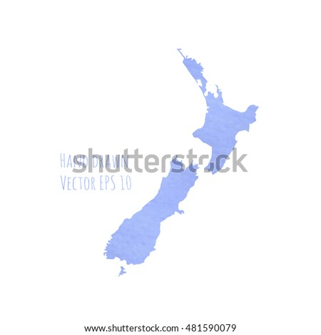 Map Netherlands. New Zealand. Blue watercolor hand drawn. EPS 10.